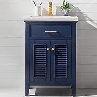 Luca Kitchen & Bath LC24SBP Juliet 24 英寸(约 61 厘米) 宽 x 16.5 英寸。 D 单水槽农舍浴室梳妆台套装,深蓝色,白色集成瓷器顶
