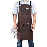 Armor Gear 重型打蜡帆布工具围裙,带工具口袋和可调节男女肩带