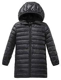 Wantdo 女孩轻质羽绒夹克带兜帽可折叠风衣冬季外套
