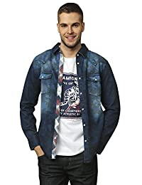 IZOD 男式 牛仔衬衫 秋季修身磨白迷彩装衬衣 纯棉美式休闲外套 A91161SH002