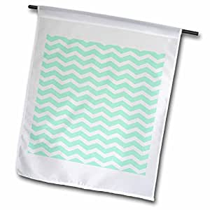 inspirationzstore V 形图案–薄荷绿色和白色锯齿形条纹图案复古时尚–旗帜 12 x 18 inch Garden Flag