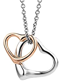 Miore 925 纯银项链,46cm 女士链上有双心吊坠