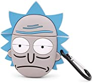 YONOCOSTA 可爱 airpods 保护套 airpods 2 保护套 趣味 Rick 3D 卡通 *保护 防震 软硅胶 充电 保护套 皮肤 带钥匙扣 适合女孩 男孩 女士 儿童