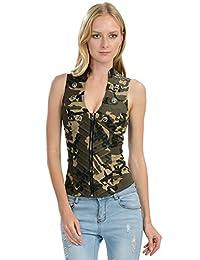 Lydia USA 性感女式军装迷彩背心夹克后侧交叉剪裁 (L-3471)