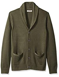Goodthreads Men's Soft Cotton Shawl Cardigan Sweater, Solid Olive, Small