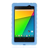 Google Nexus 7 (2013) Drop Tech Light Blue Gumdrop Cases Silicone Rugged Shock Absorbing Protective Dual Layer Cover Case