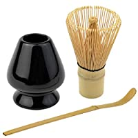 Bskifnn 日本茶具套装-3件套日本抹茶仪式配饰,抹茶搅拌器,打蛋器,茶勺,初学者完美套装 黑色