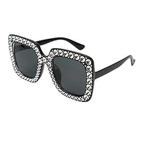 HUELE 女式水晶太阳镜超大方形厚框(黑色-灰色-镜片)
