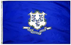 Annin Connecticut State Flag 3x5 ft. Nylon SolarGuard Nyl-Glo 100% Made in USA to Official State Design Specifications by Flagmakers. Model 140760