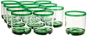 DII Kane Home Products Hoop Plastic Tumblers, 15-Ounce, Green, Set of 12