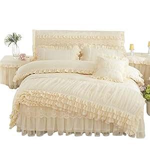 Lotus Karen Korean 公主女孩床上用品套装 2018 蕾丝床品女孩耐用 4 件套包括 1 件被套 1 件床裙 2 件枕套 大号双人床双人床双人床尺寸 米色 大号 CP002-Beige-Queen Size