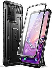SUPCASE UB Pro 系列,专为三星 Galaxy S20 Ultra 5G 手机设计,内置屏幕保护膜,带全身坚固皮套和支架,适用于 Galaxy S20 Ultra(2020 版)1  黑色