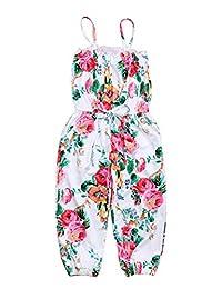 Sinmoocy 幼童女童服装一件式连体衣连体裤儿童系带花卉夏季服装哈伦裤