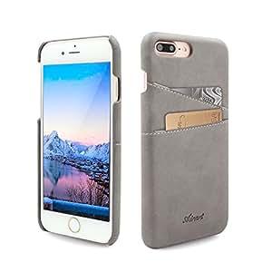 Airart iPhone 7 Plus 卡包,高级复古软皮革钱包手机壳,超薄专业行政搭扣后盖带 2 个身份证信用卡插槽夹适用于 iPhone 7 Plus 5.5 英寸Apple iPhone 7 Plus 灰色