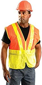 Occunomix LUX-SSLM2Z-M Premium Mesh Two-Tone Gloss Safety Vests, Medium, Yellow