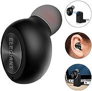 迷你蓝牙耳塞,ELEGIANT 蓝牙耳塞式耳机,单入耳式蓝牙耳机,带麦克风 6 小时播放时间,适用于 iPhone Samsung Android(一只装,两个充电器)