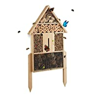Relaxdays 昆虫屋,L,直立式,帮助蜜蜂、草蛉、瓢虫筑巢,木制,高 x 宽 x 深:60.5 x 37 x 9厘米,天然色