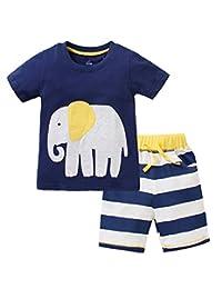 男童男童幼童儿童棉质夏季大象 T 恤短裤套装套装