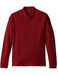 Armani Jeans 男士纯色长袖 Polo 衫,黑色,L 码
