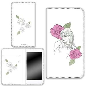 卡丽 壳 双面印刷手册 女孩和玫瑰 智能手机壳 手册式 对应全部机型 女の子とバラC 4_ AQUOS R SHV39