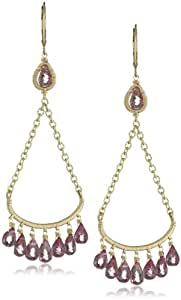 Dana Kellin Hand -Stitched Trapeze with Pink Briolette and Chain Detail Drop Earrings