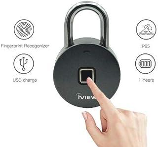 iView FL200 指纹挂锁,健身锁,运动锁,学校和职员锁,户外,栅栏,猫舍和存储 - 全天候金属和钢 IP65 无需应用或蓝牙