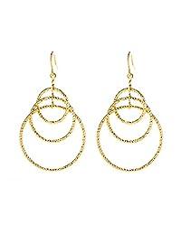 Lifetime Jewelry 三环耳环,24K 金半贵金属,可*大部分耳朵,闪亮,轻便,易于佩戴,5.08 厘米长,直径 3.18 厘米,