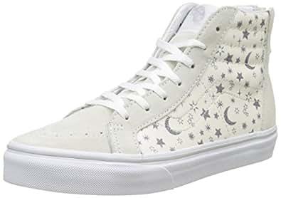 VANS 中性儿童 sk8-hi 拉链高拖鞋 Elfenbein (Star Glitter) 32.5 EU