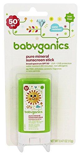 BabyGanics (甘尼克宝贝) - 遮光剂棍子Pure矿泉水抗性芬芳释放 50 SPF - 0.47盎司美国直邮【亚马逊海外卖家】