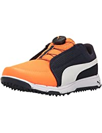 Puma Golf Grip Sport JR.Disc 鞋 Peacoat-puma White-orange Clown Fish 4 Medium Youth US Big Kid