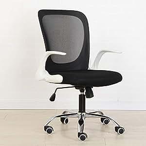 折叠电脑椅子家用办公室员工椅办公椅卧室转椅游戏椅老板椅学生宿舍椅子旋转靠背椅护腰椅 (白色框架+黑丝网布+铝合金脚+升降扶手)