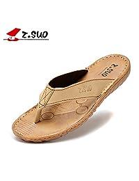 Suo 走索 男鞋夏季拖鞋男士真皮凉拖休闲人字拖潮防滑沙滩凉鞋男ZS618N