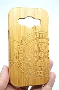 SAMSUNG GALAXY J1木质手机壳 phantomsky [ 奢华系列 ] 高品质手工天然木材盖与免费屏幕保护膜适用于 YOUR GALAXY J1–竹 mandala bamboo compass