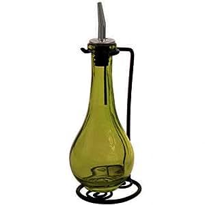 玻璃油和醋瓶分配器或碟子肥皂瓶,橄榄油礼品套装,林德罗普款 226.8 克 瓶子。 玻璃瓶,不锈钢浇铸喷嘴,软木和粉末涂层黑色金属支架 复古绿色 G215VF