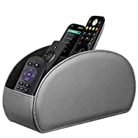 Fintie 遥控支架,Vegan Leather TV 遥控盒桌面收纳盒,5 个隔层,适合电视遥控器、媒体控制器、办公用品、化妆刷 银灰色