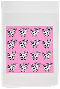 janna salak 设计农场动物–幸福奶牛女孩粉色印花–旗帜 12 x 18 inch Garden Flag
