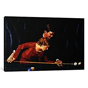 iCanvasART NRL359-1PC3 Billiards is Easy to Learn Canvas Print by Norman Rockwell, 0.75 by 40 by 26-Inch