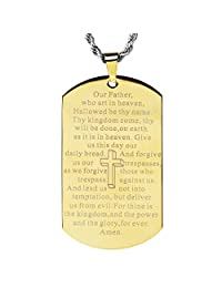 """西海岸珠宝不锈钢""""Lord's Prayer""""镜面抛光狗牌吊坠项链 - 60.96 厘米 金色"""