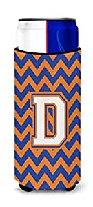 Caroline's Treasures CJ1060-DTBC Letter D Chevron Blue and Orange Tall Boy Koozie Hugger, Multicolor
