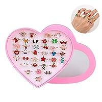 L-Lweik 36 件儿童戒指女孩首饰戒指可调节儿童戒指女孩假装玩耍和装扮戒指带心形展示盒适合儿童生日派对