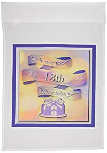 BEVERLY TURNER 生日设计–丝带和蛋糕快乐18TH birthday–旗帜 12 x 18 inch Garden Flag