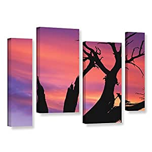 """ArtWall Dean Uhlinger 4 Piece Desert Magic Hour Gallery-Wrapped Canvas Staggered Set, 24 by 36"""""""