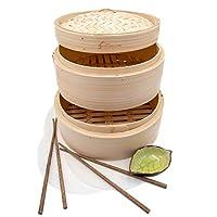 手工双层竹制蒸锅篮 - 25.4 厘米调弹和Bao Bun 中国食品蒸锅 - 亚洲烹饪工具套装带筷子和酱板 - 米饭、蔬菜和鱼的蒸汽篮 天然竹 10 Inch - 2 Tiers - Standard Depth I-PLFT-BS-SF-10-S
