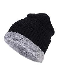 ITODA 男式针织无檐小便帽冬季冬季冬季温暖弹性羊毛滑雪帽骷髅帽