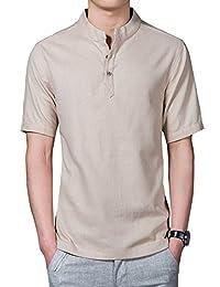 Aboselon 艾伯森朗 男士衬衫潮男短袖衬衫 修身男装短袖棉麻男式衬衣 FYBM201