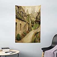 Ambesonne 欧洲挂毯,英国小镇与石头房子复古英格兰田园建筑图像打印,卧室客厅宿舍装饰,101.6 厘米 X 152.4 厘米,灰*