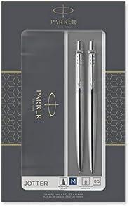 Parker IM Duo 礼品套装,带圆珠笔和钢笔 Jotter Ballpoint/Mechanical Pencil 不锈钢镀铬装饰