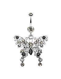 Fancy Gem Butterfly WildKlass Belly Button Ring Black Diamond/Black