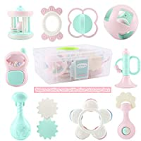 EFOSHM 10 件装婴儿摇铃牙胶套装,抓握式抓握玩具,旋转摇铃,感官磨牙摇铃,煮沸* BPA 套装,婴儿新生儿幼童