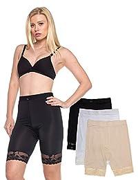 Barbra's 3 件装塑身衣光滑高腰裙下装休闲短裤
